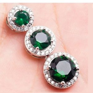 Jewelry - White gold Green Emerald CZ pendant necklace